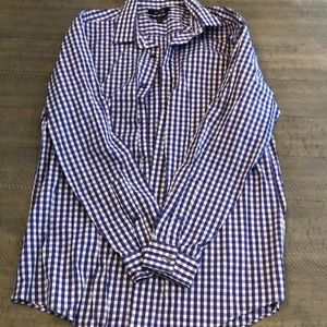 Casual purple and white checkered dress shirt